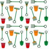 Textura sem emenda das ferramentas de jardinagem Imagem de Stock