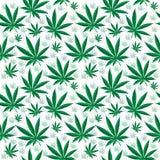 Textura sem emenda do cannabis médico Fundo do cânhamo wallpaper Ilustração do vetor Fotos de Stock