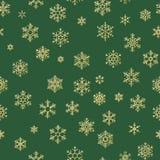 Textura sem emenda do feriado, teste padrão do Natal com a decoração para matérias têxteis, folheto dos flocos de neve do ouro, c ilustração stock