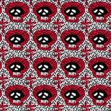 Textura sem emenda do grunge do teste padrão da garatuja de matéria têxtil dos crânios Imagens de Stock