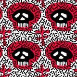 Textura sem emenda do grunge do teste padrão da garatuja de matéria têxtil dos crânios Fotos de Stock