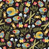 Textura sem emenda do mundo de insetos. Imagem de Stock