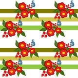Textura sem emenda do teste padrão das flores bonitos no branco listrado Imagens de Stock Royalty Free