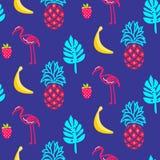 Textura sem emenda do vetor do verão azul do flamingo Fotos de Stock