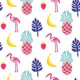 Textura sem emenda do vetor do verão do flamingo Imagens de Stock Royalty Free