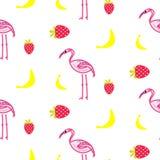 Textura sem emenda do vetor do verão do flamingo Foto de Stock Royalty Free
