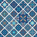Textura sem emenda do vetor Ornamento dos retalhos do mosaico com telhas do rombo Teste padrão decorativo dos azulejos portuguese ilustração stock