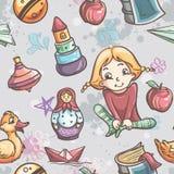 Textura sem emenda dos brinquedos das crianças para as meninas Imagens de Stock
