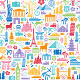 Textura sem emenda dos ícones do curso Imagens de Stock Royalty Free
