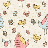 Textura sem emenda dos ovos de Easter, da galinha e da galinha Imagens de Stock