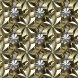 A textura sem emenda, dourado/prata twirled estrelas Imagens de Stock