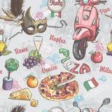 Textura sem emenda em Italia Com uma imagem do alimento, do fruto, do vinho, das máscaras do carnaval e de outro Fotografia de Stock