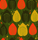 Textura sem emenda floral colorida da tela do contraste do teste padrão com fundo bonito das árvores decorativas com folhas ilustração do vetor