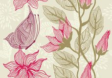 Textura sem emenda floral com a borboleta no vetor Fotografia de Stock Royalty Free