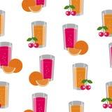 Textura sem emenda que consiste em frutos e em copos com suco Fotos de Stock