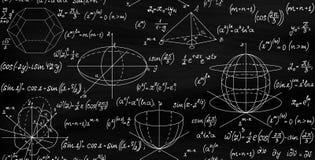 Textura sin fin inconsútil del vector matemático con fórmulas, figuras y ecuaciones stock de ilustración
