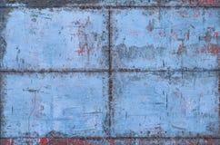 Textura sucia azul del metal con las costuras fotografía de archivo
