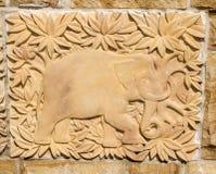 Textura tallada del elefante Imagen de archivo