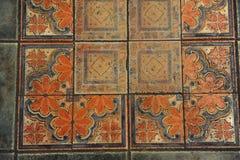 A textura telhou o assoalho em um estilo do mosaico Imagens de Stock