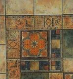 A textura telhou o assoalho em um estilo do mosaico Fotos de Stock Royalty Free