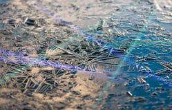 A textura, testes padrões na lagoa congela na Noite de Natal Imagem de Stock