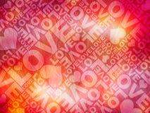 Textura tipográfica del día de tarjeta del día de San Valentín del amor Fotos de archivo libres de regalías