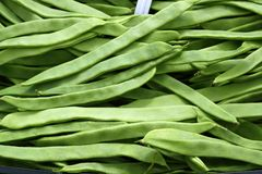 Textura vegetal dos feijões verdes no mercado de Spain Fotos de Stock Royalty Free