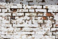 Textura velha da parede de tijolo do vintage Fundo horizontal branco vermelho de Stonewall do Grunge Fachada gasto da constru??o  fotografia de stock royalty free