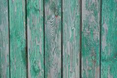 Textura verde cinzenta de placas de madeira na cerca Foto de Stock Royalty Free