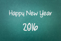 Textura verde de la pared de la pizarra con una Feliz Año Nuevo 2016 de la palabra Foto de archivo