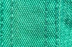 Textura verde de matéria têxtil da sarja de Nimes Imagens de Stock