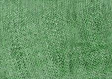 textura verde de pano de saco da juta Imagens de Stock Royalty Free