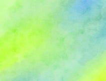 Textura verde mezclada de la pintura de la acuarela Foto de archivo