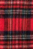 Textura vermelha do fundo da tela da flanela do lenço Fotografia de Stock