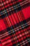 Textura vermelha do fundo da tela da flanela do lenço Fotografia de Stock Royalty Free