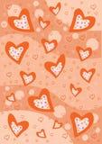 Textura vermelha do fundo dos corações Imagens de Stock