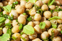 Textural background with a dish of chickpeas Stock Image