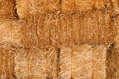 Wall of hay bales. A textural background of a solid wall of hay bales Royalty Free Stock Image