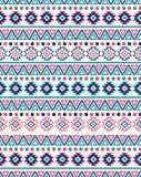 Texturas étnicas inconsútiles del modelo Colores rosados y azules stock de ilustración