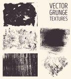 Texturas abstractas monocromáticas del grunge del vector Sistema de movimientos y de manchas dibujados mano del cepillo Imagen de archivo libre de regalías