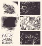 Texturas abstractas monocromáticas del grunge del vector Sistema de movimientos y de manchas dibujados mano del cepillo Fotografía de archivo