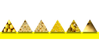 Texturas de Apple dentro de seis formas del triángulo Imagenes de archivo