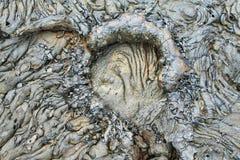 Texturas de la lava negra (pahoehoe) en la isla de Santiago Imagen de archivo libre de regalías