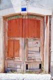 Texturas de madeira do grunge da porta Foto de Stock