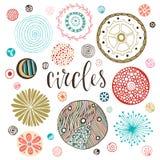 Texturas do círculo ajustadas Decorações isoladas tiradas mão Ilustração do vetor ilustração royalty free