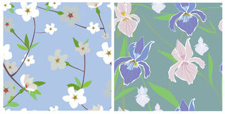 texturas inconsútiles de flores stock de ilustración