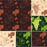 Texturas inconsútiles de las uvas y de las hojas Imagenes de archivo