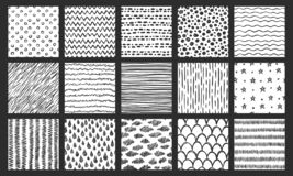 Texturas inconsútiles exhaustas de la mano Bosqueje el modelo, garabatee la textura y las líneas curvadas sistema del garabato de libre illustration