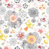 Texturas naturais com gatos e pássaros Imagem de Stock Royalty Free