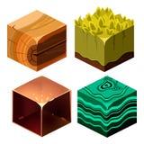 Texturas para o grupo cúbico do vetor dos ícones de Platformers ilustração royalty free